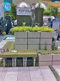 cinder block planter with bench concrete block seating for