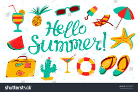 hello summer lettering beach banner summer stock vector 587789057