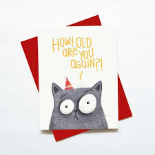 Cat Birthday Cards Funny Cat Birthday Card How Old Are You Again Green Bean Studio