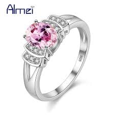 rings pink stones images Almei unusual pink blue stones rings women 39 s jewelry silver color jpg