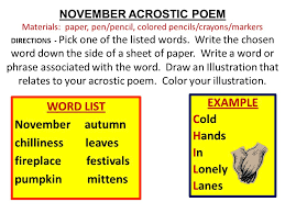 november and thanksgiving activities november acrostic poem