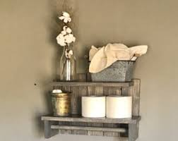 Wall Shelf Bathroom Rustic Bathroom Etsy