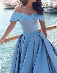 blue dresses light blue satin prom dress shoulder prom dress blue