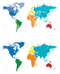 continent and country map separated by color royalty free cliparts