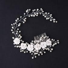 pearl hair comb bridal flower pearl hair comb slide headband wedding clip