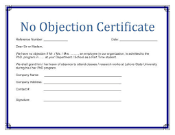 clearance certificate sample no objection certificate templates property study