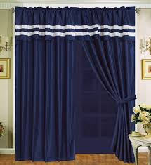 Blue And White Window Curtains Stripe Navy Blue Curtain Panels Marku Home Design