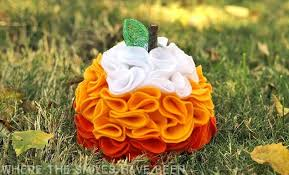 pumpkin candy corn diy candy corn ruffled felt pumpkin hometalk