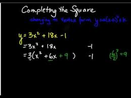 changing a quadratic from standard form to vertex form youtube