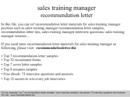 sales training manager recommendation letter