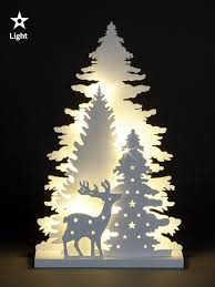wooden white light up decorations led ornament
