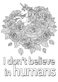 printable page of quotes quote coloring pages unicorn i don t believe in humans 2 quotes