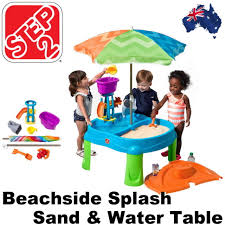 step 2 water table with umbrella step 2 beachside splash sand water table kids outdoor toys step2