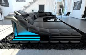 sofa mit led luxury sectional sofa turino cl with led lights black black ebay