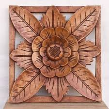 bali wood carving balinese traditional lotus refiel wood panel wooden carving bali