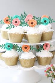 flower cupcake toppers boho themetea party birthday bridal