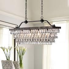 Crystal Light Fixtures Dining Room - light antique bronze rectangular crystal chandelier dining room