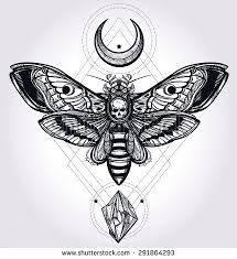 deaths hawk moth with moons and stones design