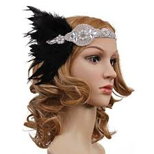 1920s headband vintage black feather silver 20s headpiece 1920s flapper headband