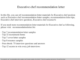 Sample Executive Chef Resume by Executive Chef Recommendation Letter Documents
