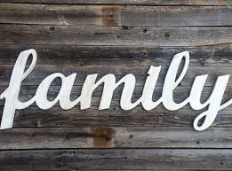 family large wooden letters script word wooden wall