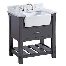 kitchen bath collection charlotte 30 inch farmhouse vanity carrara charcoal gray