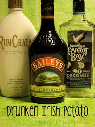 martini shaker shaking the drunken irish potato 2 oz rumchata 1 oz parrot bay coconut rum