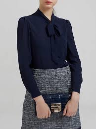 navy blue blouse navy blue v neck sleeve bow blouse stylewe com