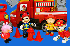 fire truck halloween basket peppa pig mickey mouse caillou and paw patrol fire trucks toy