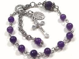 bracelet rosary rosary bracelet amethyst stainless steel miraculous medal one