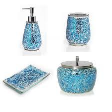 Glass Bathroom Accessories by Sea Glass Bathroom Accessories In Aqua Mosaic Tiles Bathroom Soap