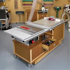table saw router combo mobile sawing routing center woodworking plan from wood magazine