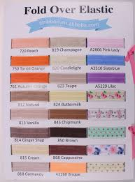 Color Chart Of 5 8 Solid Fold Over Elastic 91 Colors Shiny Foe