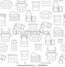 Lactose Intolerance Cottage Cheese by Set Cute Hand Drawn Outline Icons Stock Vector 285849746