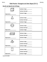 Commoncore Math Worksheets 2 G 1 3d Shapes Part 2 2nd Grade Common Math Worksheets