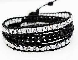 black leather crystal bracelet images Chan 3mix silver crystal black leather luu wrap bracelet jpg