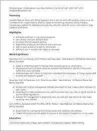 Speech Language Pathology Resume Examples by Professional Medical Claims And Billing Specialist Templates To