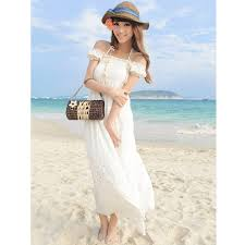 fashion trends spaghetti straps off shoulder long beach casual