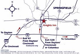 Springfield Ohio Map by Knights Inn In Springfield Ohio