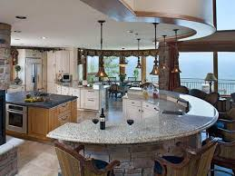 marble top kitchen island with half circle shape idea