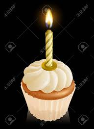 gold birthday candles fairy cake cupcake graphic with gold birthday candle on top