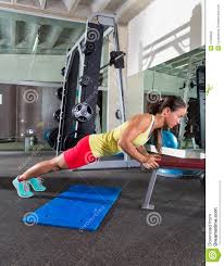 bench triceps push up woman at gym stock photo image 47523626
