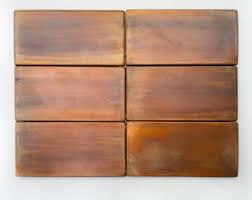 Copper Backsplash Tiles For Kitchen Copper Kitchen Backsplash Set Of 4 Tiles Rustic Modern
