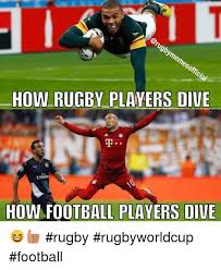 Football Player Meme - how rugby players dive how football players dive rugby