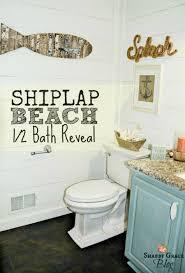 coastal themed bathroom nautical bathroom with shiplap walls coastal decorations