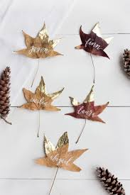 10 simple thanksgiving diys gold dipped place cards and places