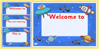 themed signs welcome to our class signs space space themed welcome signs