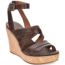 timberland womens danforth cork wedge platform sandals in brown lyst