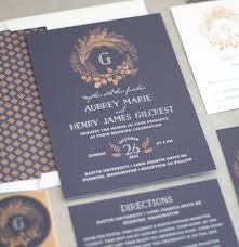 Wedding Invitation Suite Woodsy Fall Wedding Invitation Suite In Navy The Elli Blog