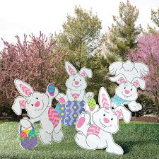 Easter Egg Hunt Garden Decorations by Tumbling Bunnies Yard Stakes Orientaltrading Com 15 00 Egg